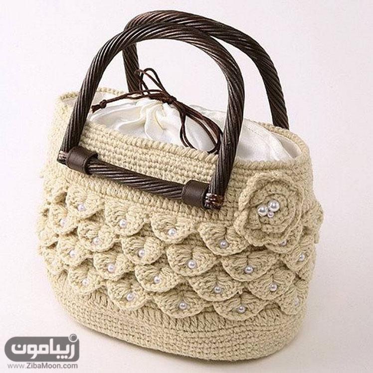 کیف بافتنی گل دار