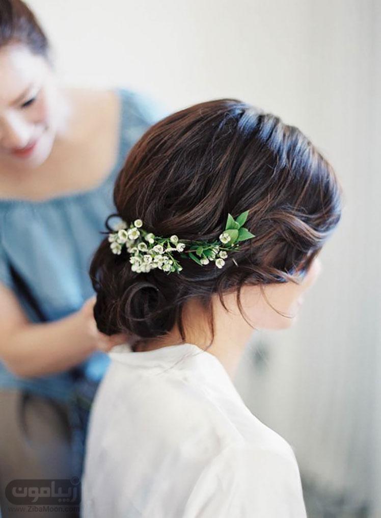 مدل موی عروس با شکوفه های طبیعی