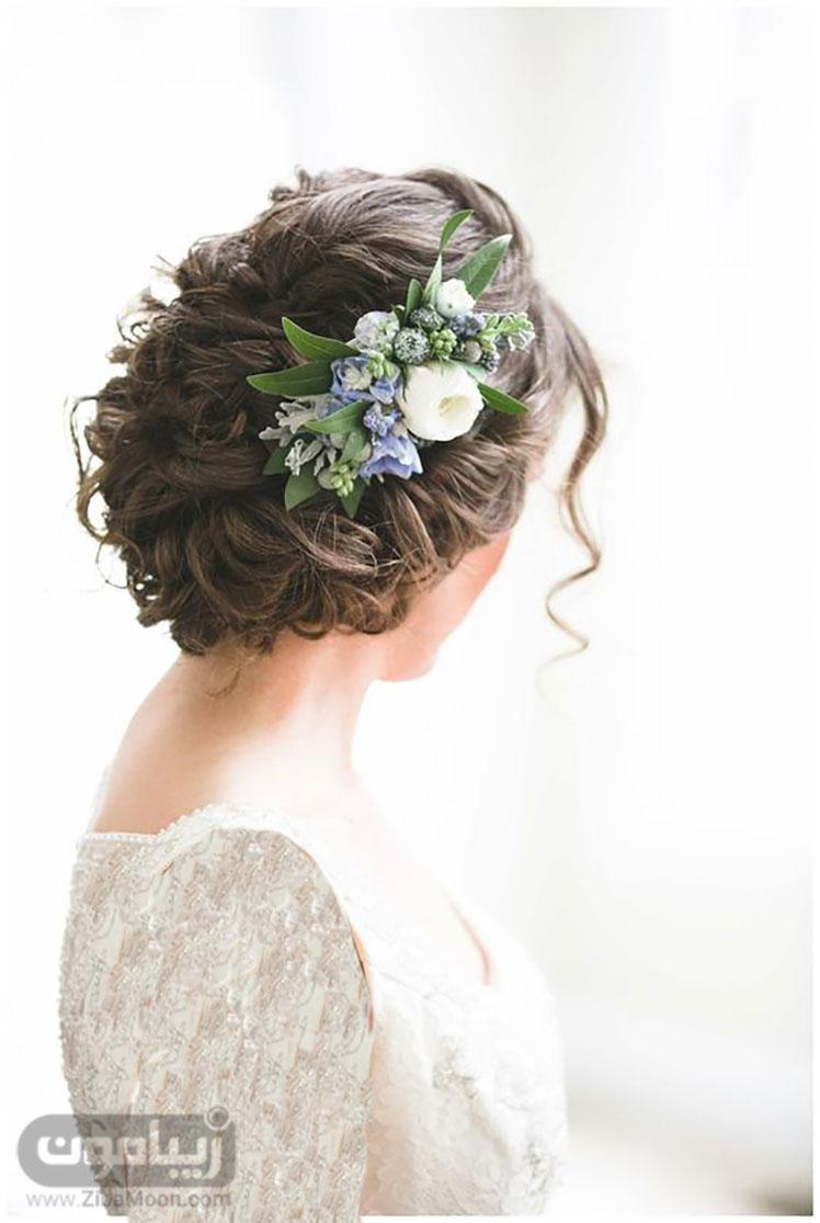 مدل موی عروس با گلهای بهاری