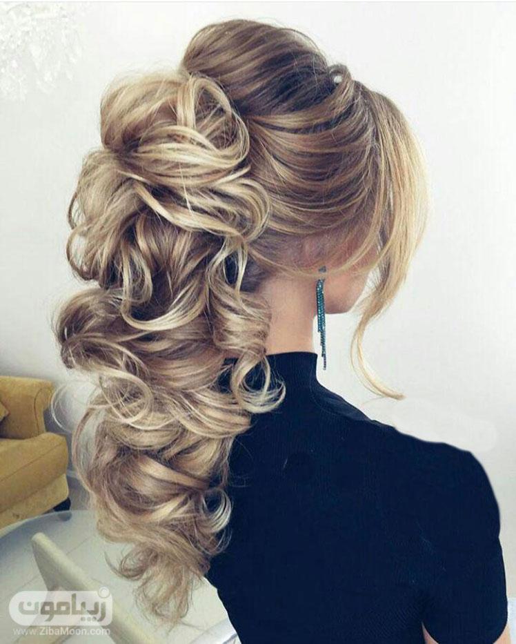 شینیون باز دخترانه برای موهای بلند