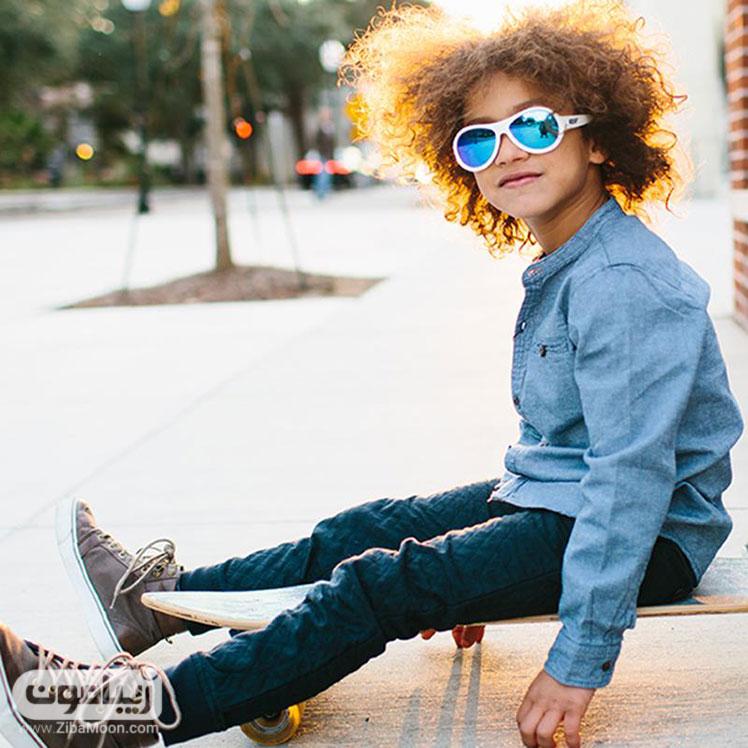مدل عینک آفتابی بچه گانه سفید رنگ