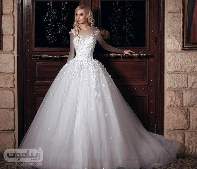 مدل لباس عروس شکوفه دار لباس عروس پرنسسی - زیبامون