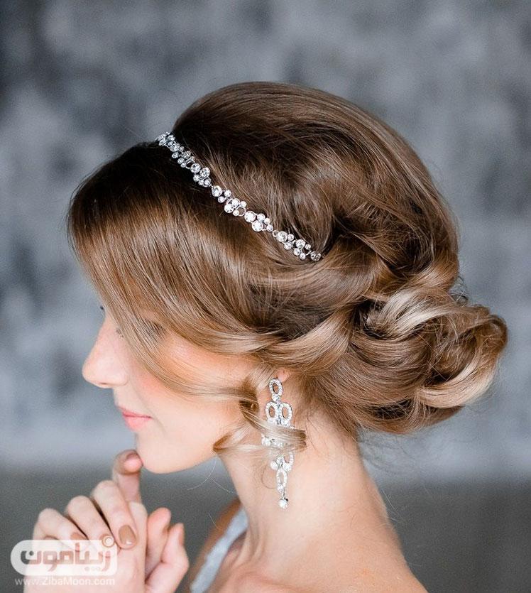 شینیون عروس با رنگ موی نسکافه ای