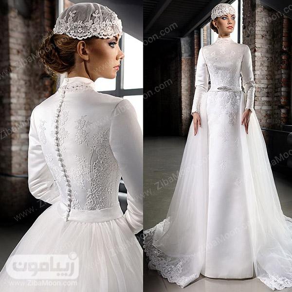 لباس عروس شیک با آستین بلند