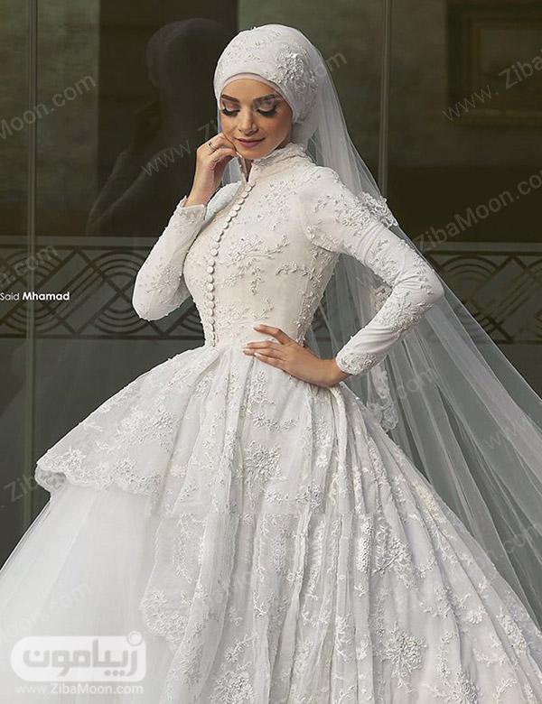 لباس عروس شیک برای عروس محجبه