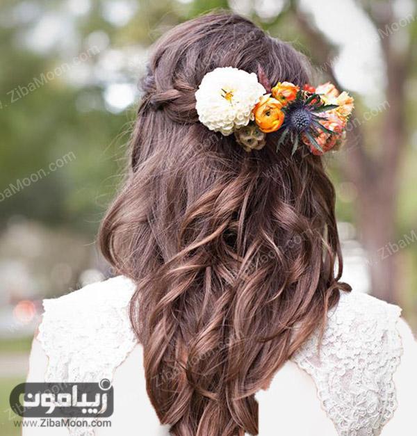 شینیون باز عروس با گلهای طبیعی