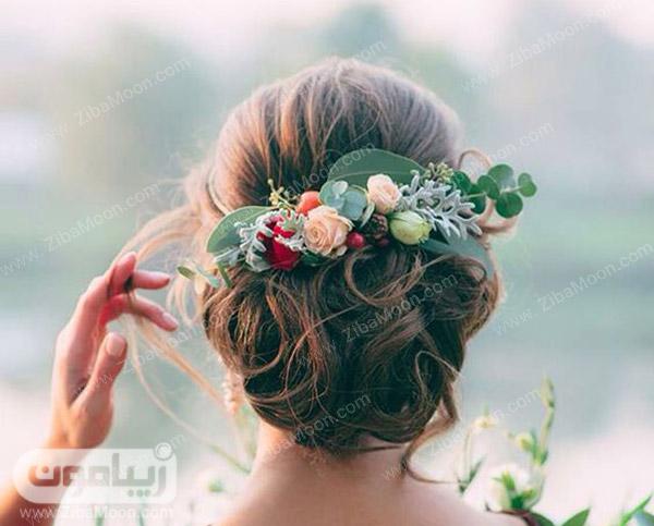شینیون عروس اروپایی با گل طبیعی