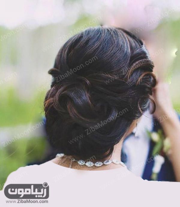 شینیون عروس با موهای مشکی