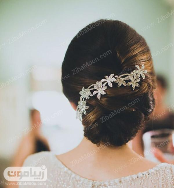شینیون عروس شیک با اکسسوری زیبا و ظریف