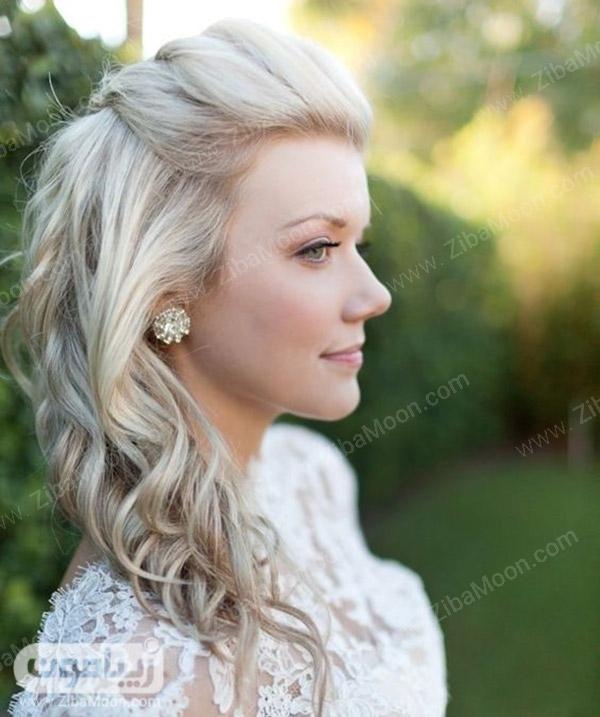 مدل مو باز برای عروس با رنگ مو بلوند