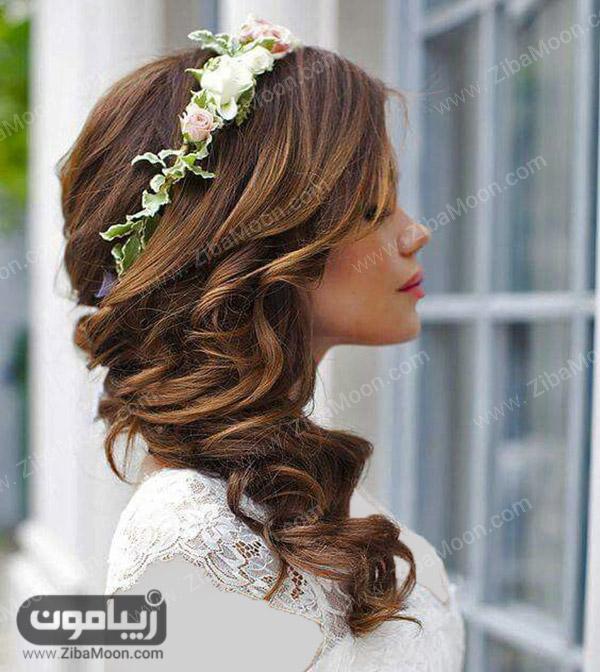 مدل مو عروس با تاج گل طبیعی