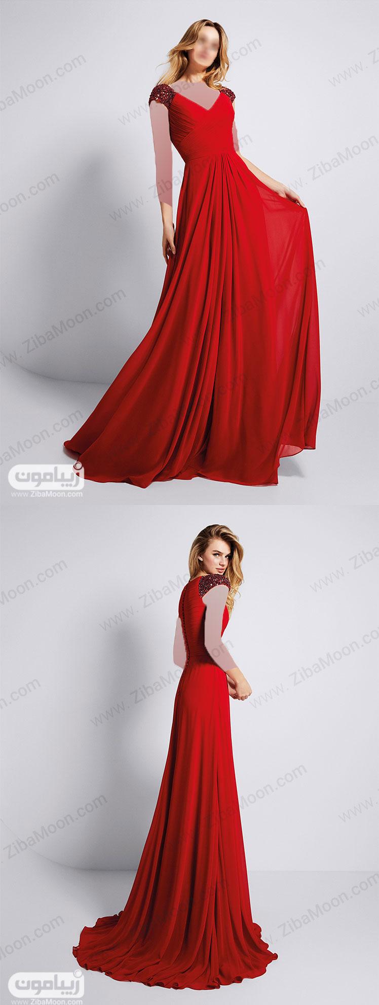 لباس مجلسی قرمز با سرآستین سنگ دوزی شده