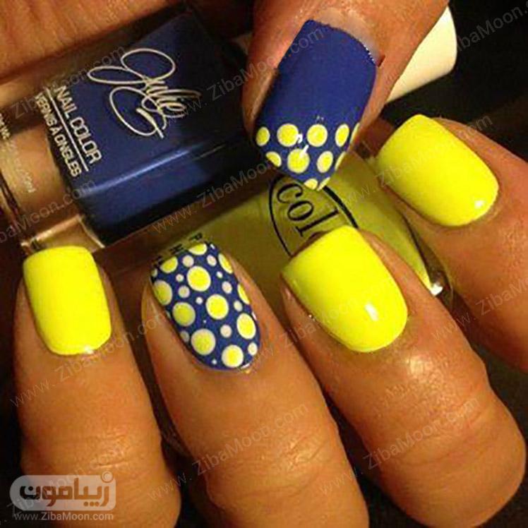 طراحی ناخن خال خالی با لاک زرد و آبی