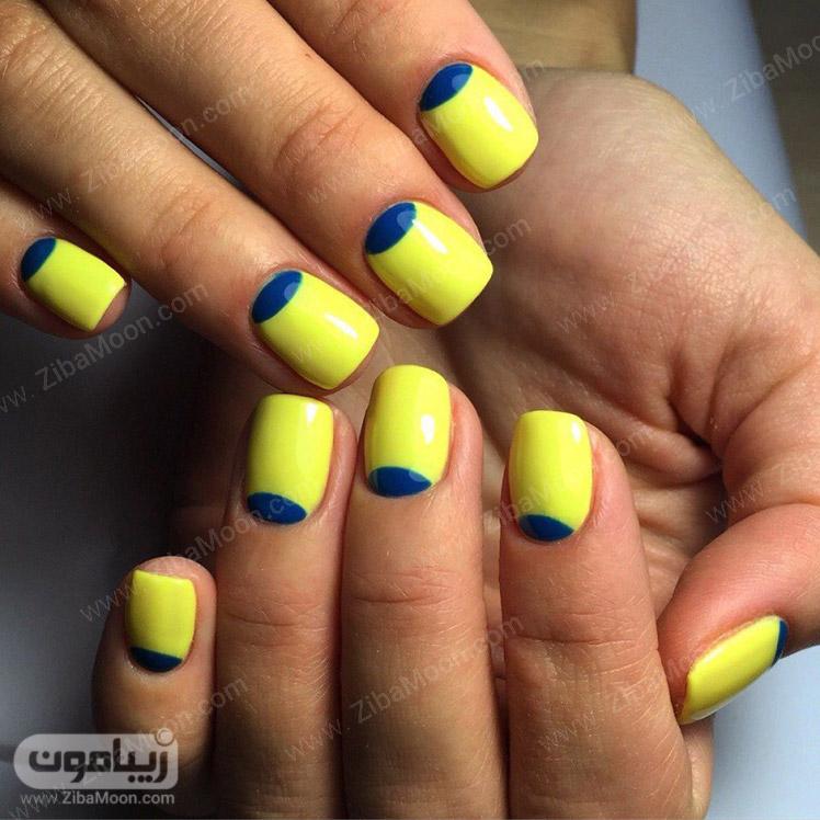 طراحی ناخن ساده با لاک زرد و آبی
