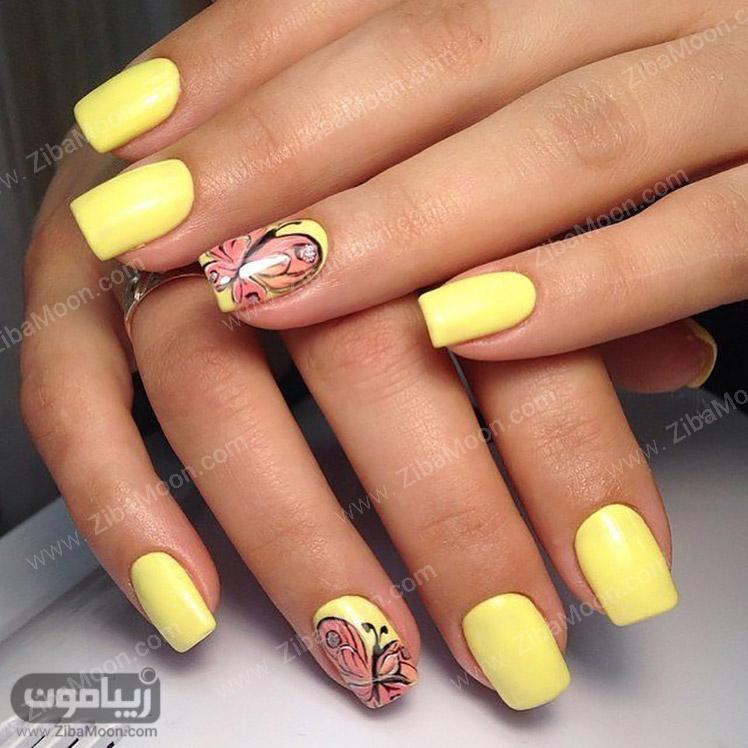 لاک ناخن زرد و طرح پروانه