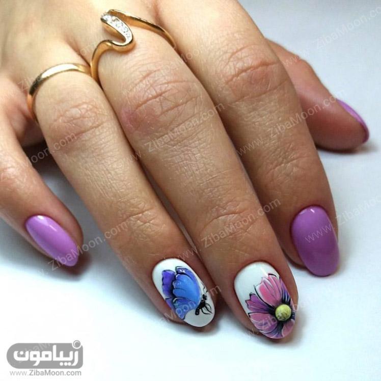 طراحی ناخن زیبا به شکل گل و پروانه