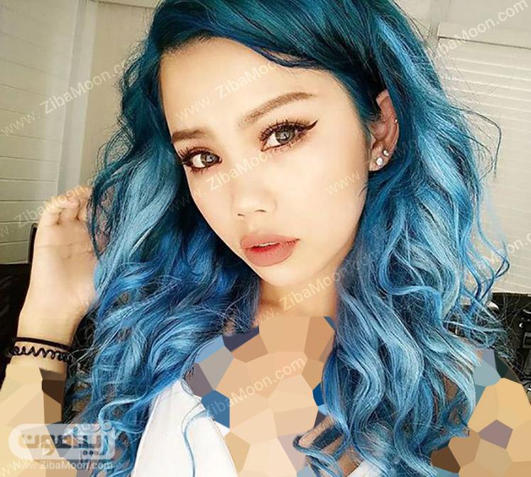 آمبره مو با رنگ آبی روشن