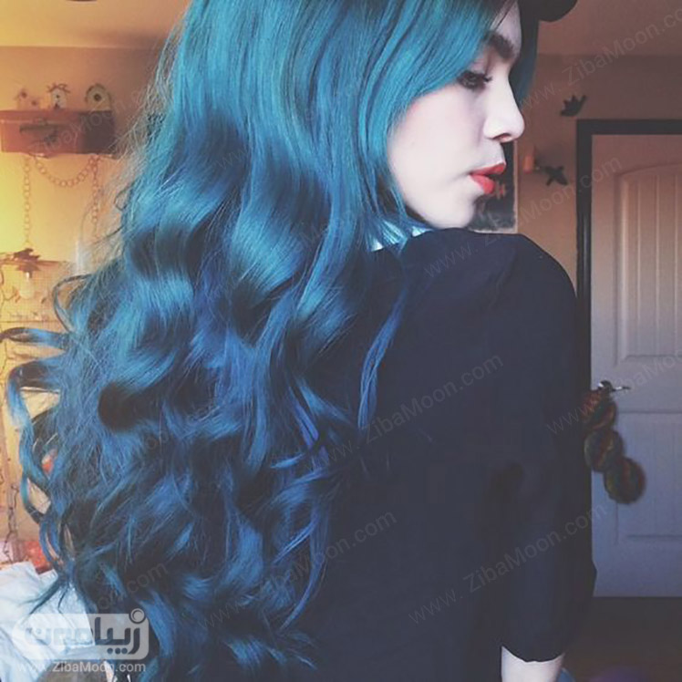 آمبره مو با رنگ آبی