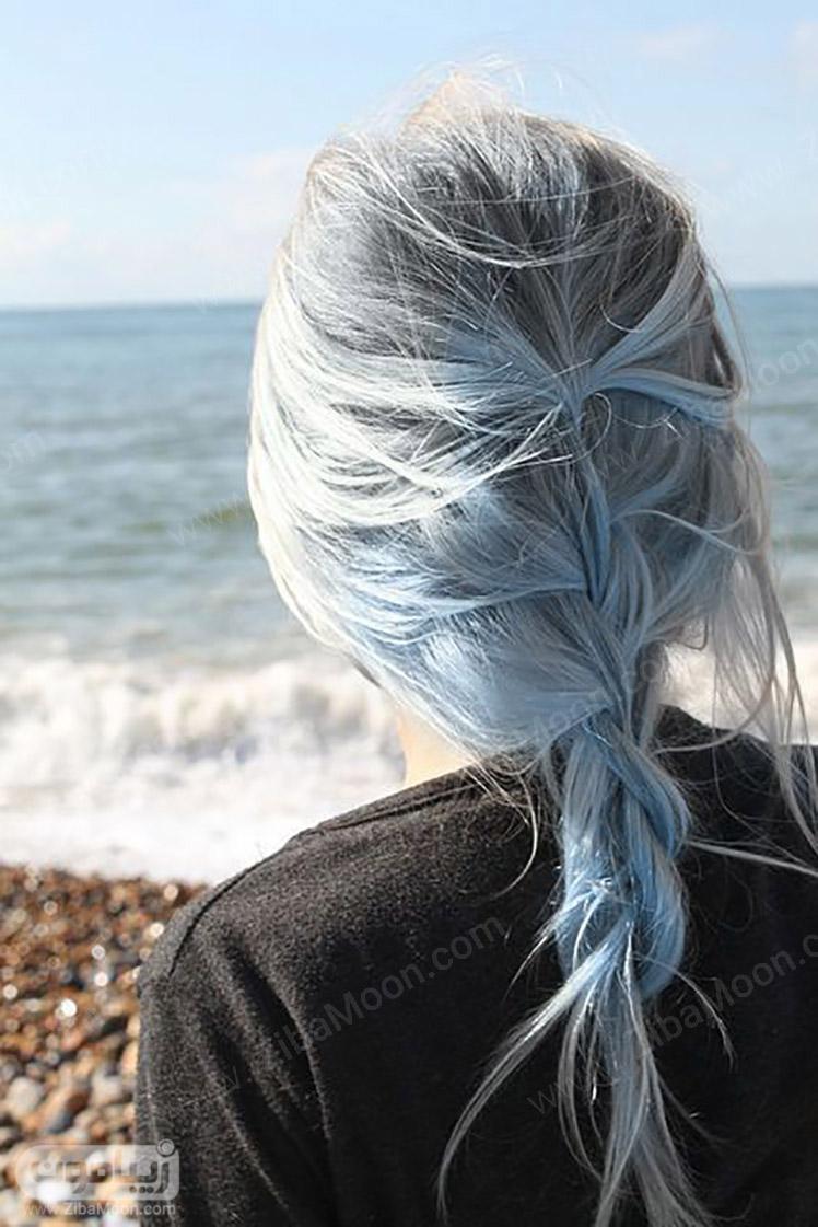 رنگ مو خاکستری با هایلایت ابی