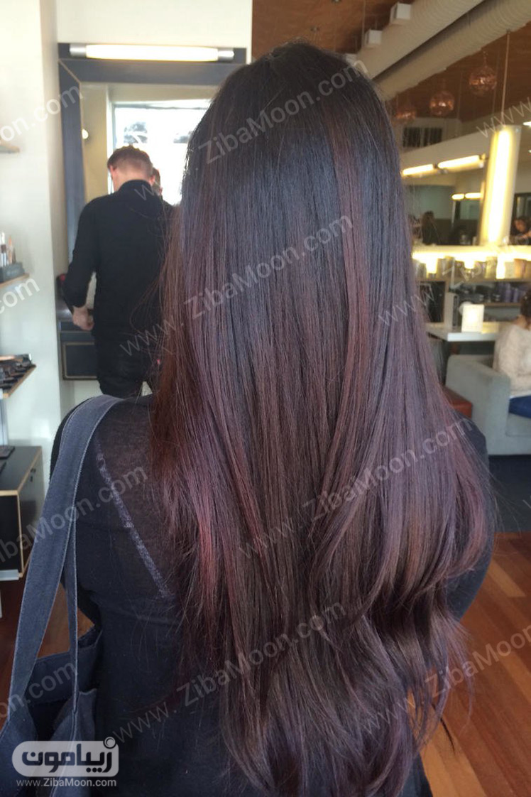 رنگ  موی قهوه ای با هایلایت شرابی