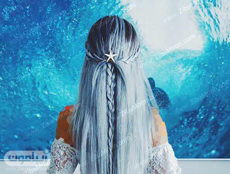 موهای بلند با بالیاژ آبی تیره و روشن