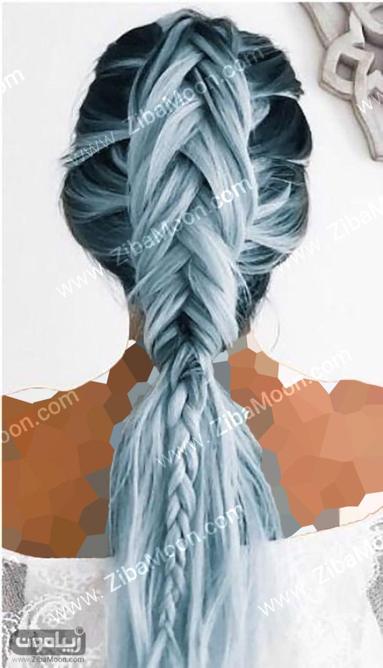 هایلایت مو با رنگ آبی و خاکستری