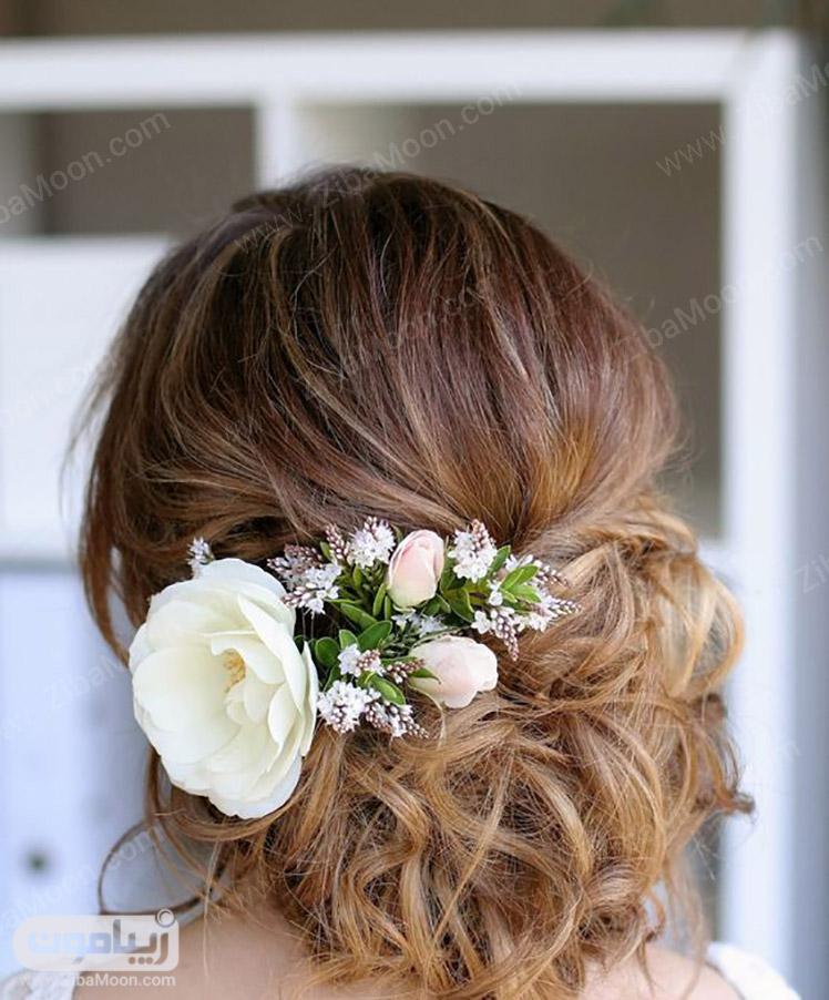 شینیون عروس با گل سفید