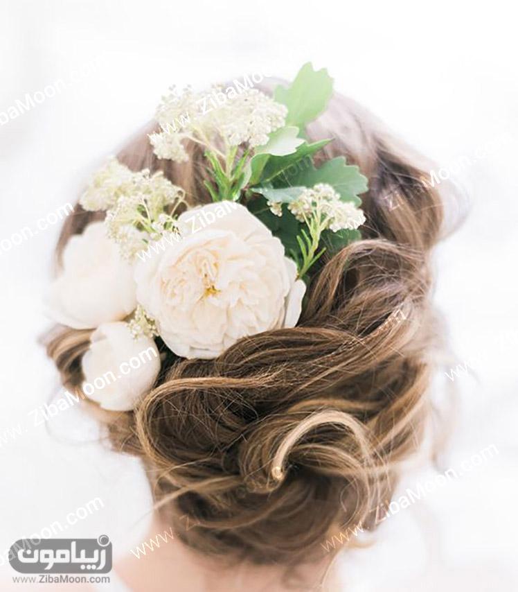 مدل مو زیبا با گل طبیعی