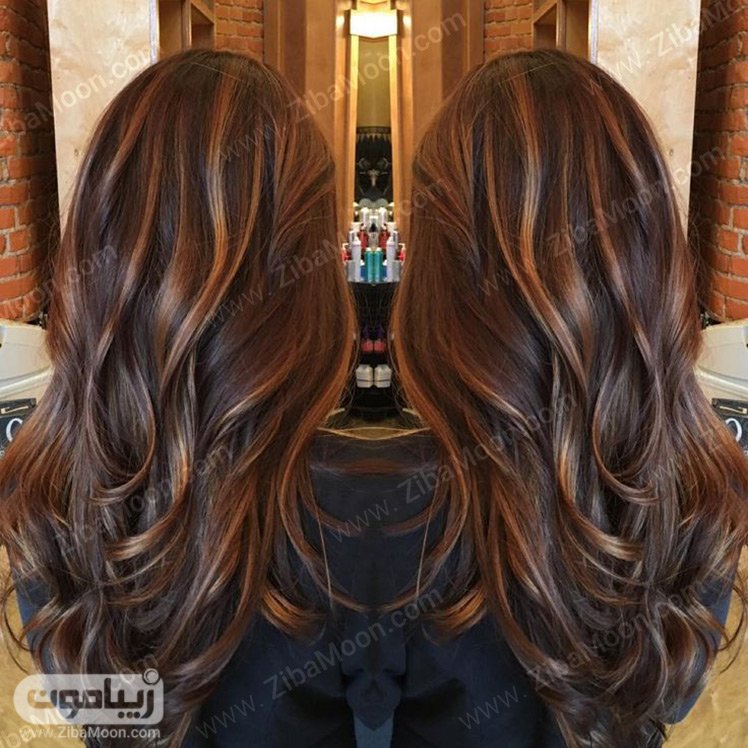 هایلایت شکلاتی کاراملی روی موهای بلند