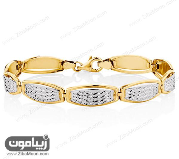 دستبند شیک طلا زرد و سفید