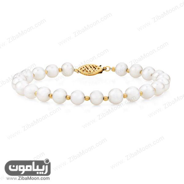 دستبند طلا با مروارید سفید