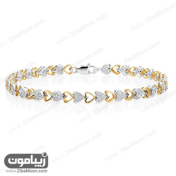 دستبند قلبی شکل زرد و سفید