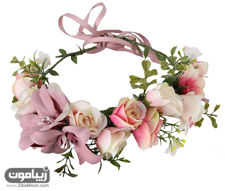 تاج عروس با گل های مصنوعی