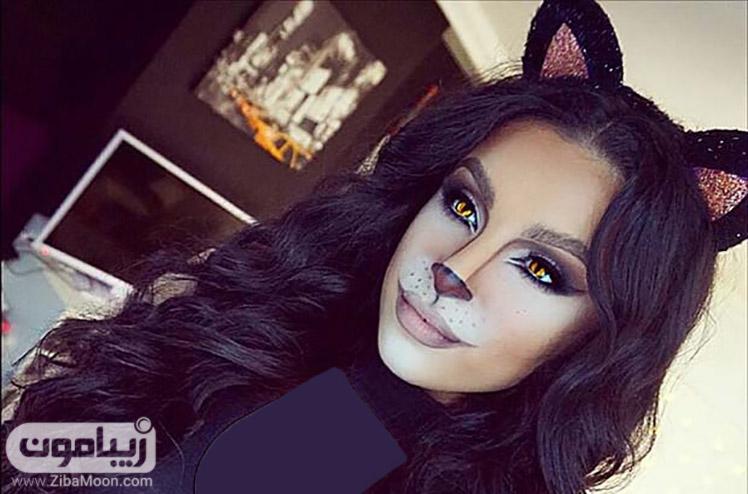 آرایش هالووین به شکل گربه سیاه
