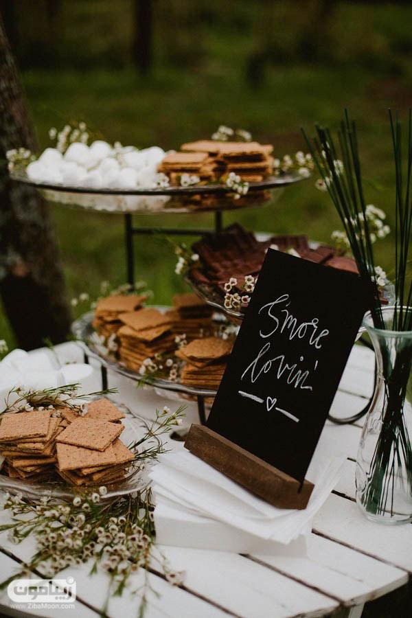 میز دسر عروسی با مربا و مارشملو
