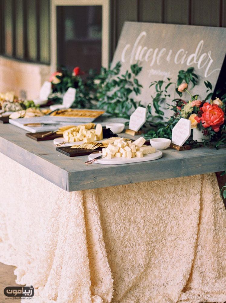 میز شام عروسی میز پنیر