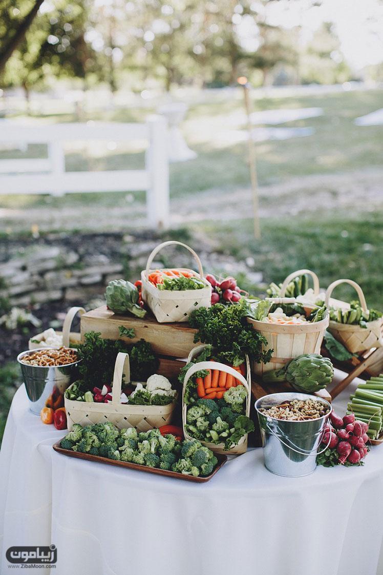 میز شام عروسی گیاه خوارها