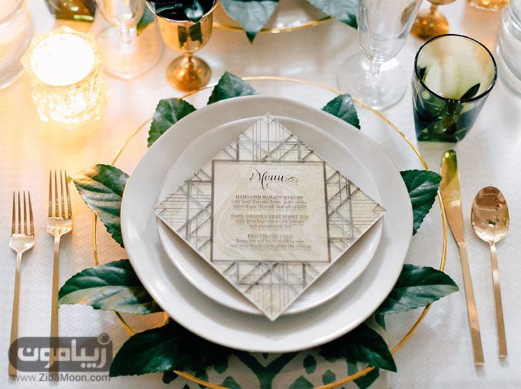 بشقاب شیک میز شام عروسی