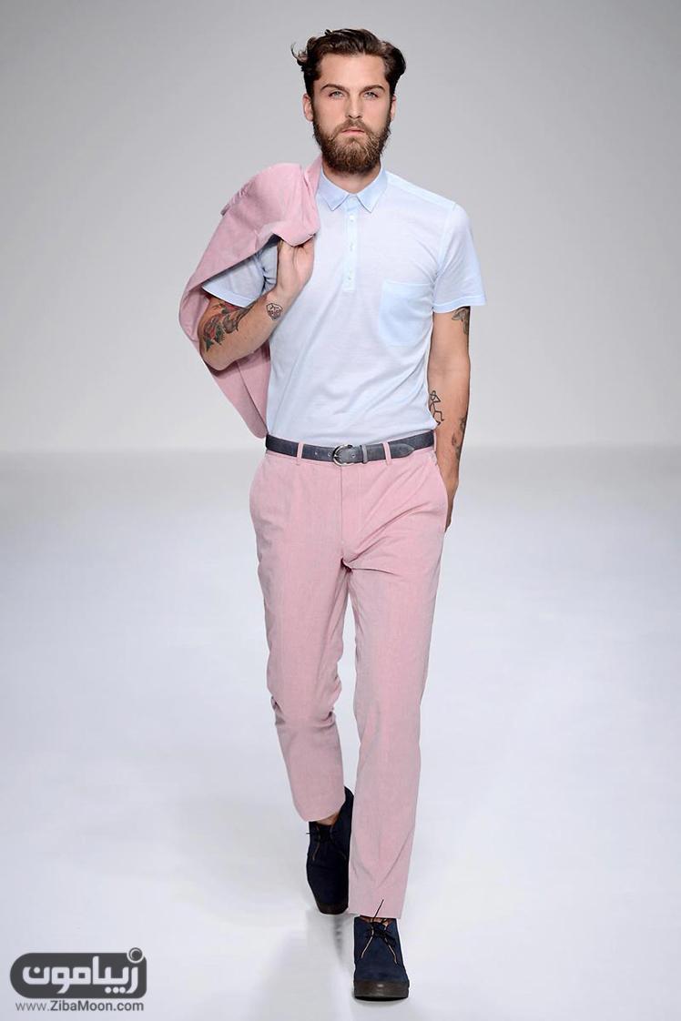 تیپ مردانه با رنگ صورتی