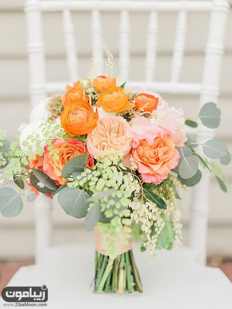 دسته گل عروس با گلهای نارنجی