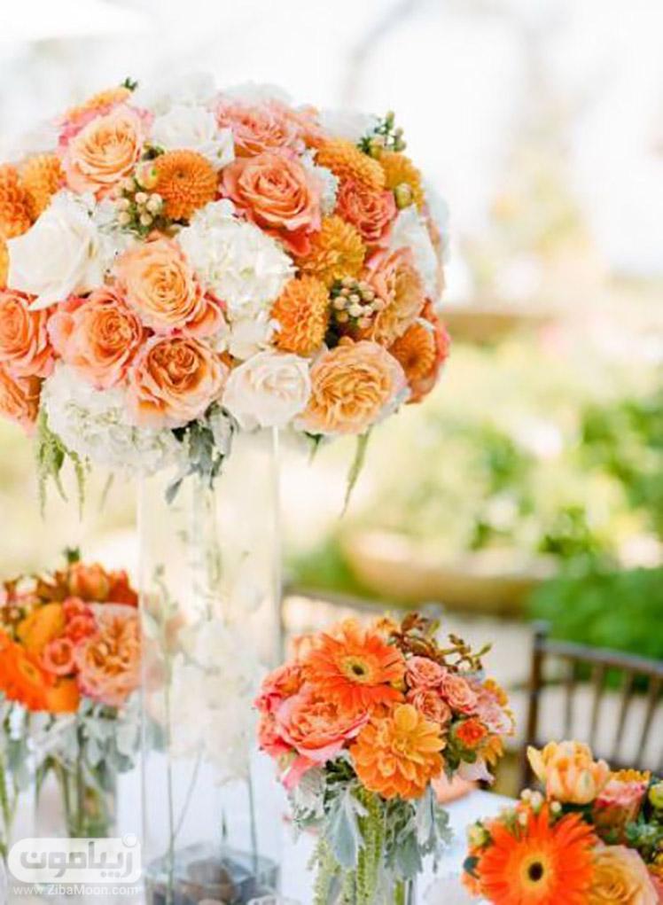گلهای نارنجی زیبا برای میز شام