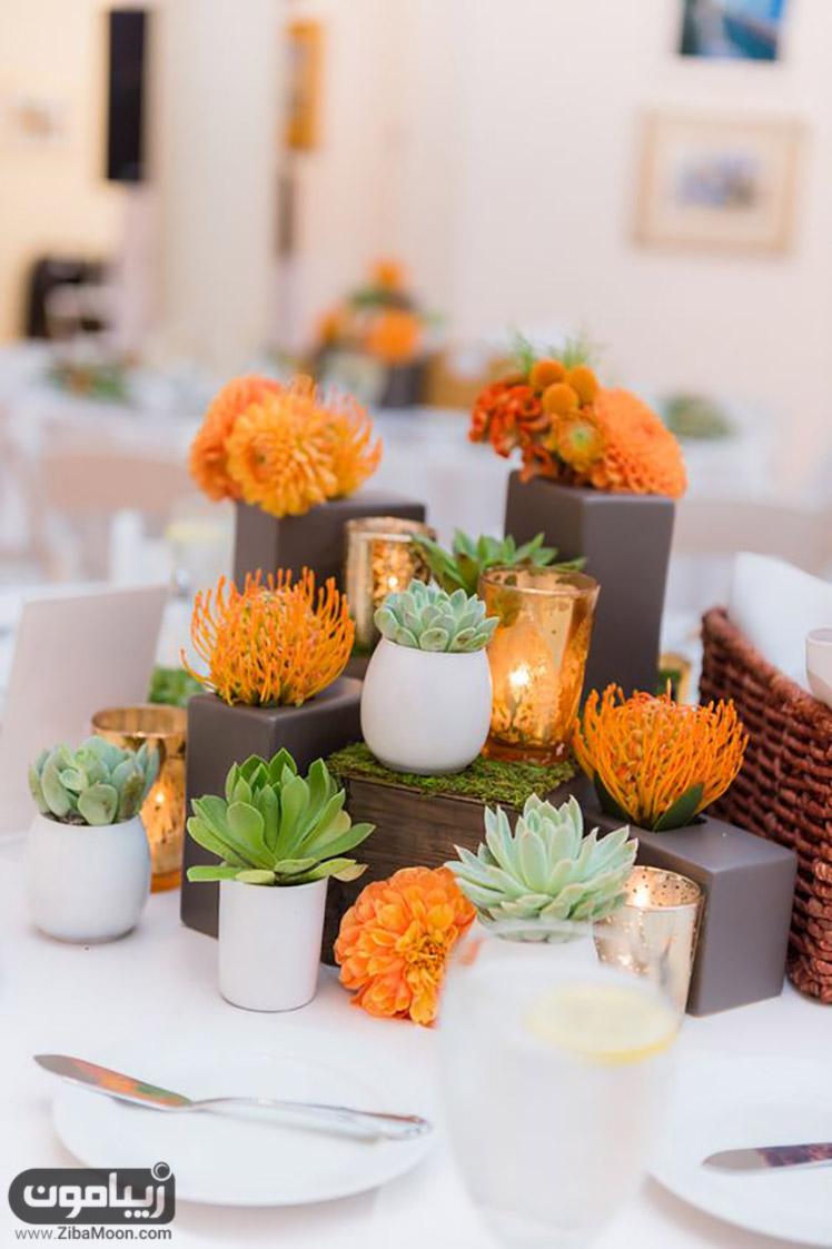 گل آرایی میز شام با کاکتوس نارنجی