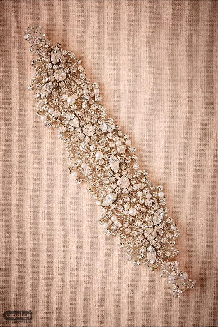 دستبند عروس از کریستال و مروارید