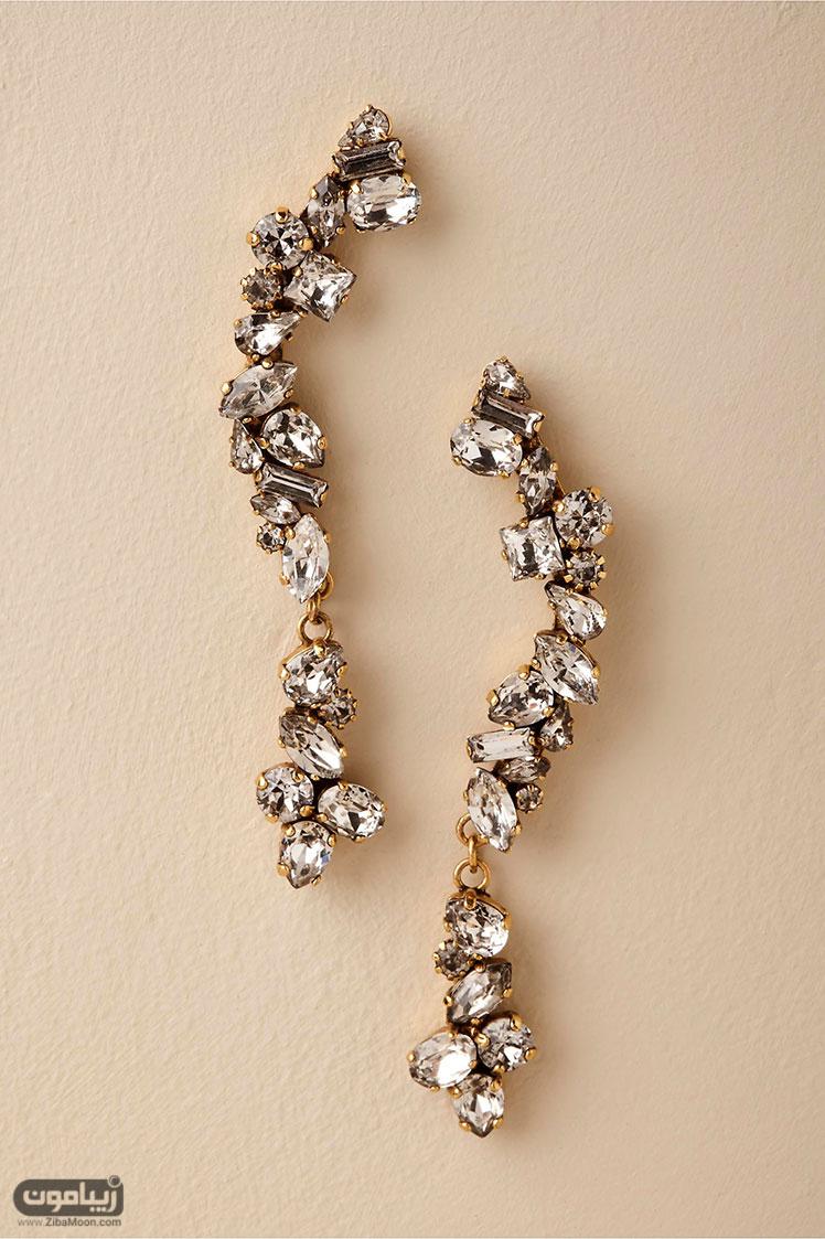 گوشواره عروس کریستالی آویزی