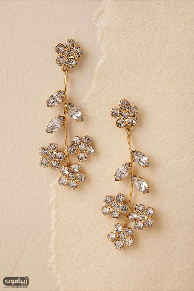 گووشاره عروس طرح گلدار کریستالی