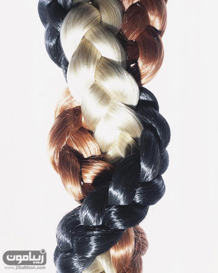 موهای رنگ شده و بافته
