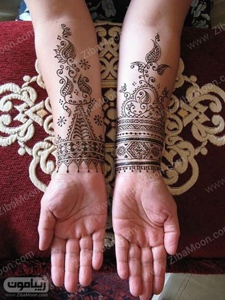 طرح حنا ظریف و زیبا روی ساق دست