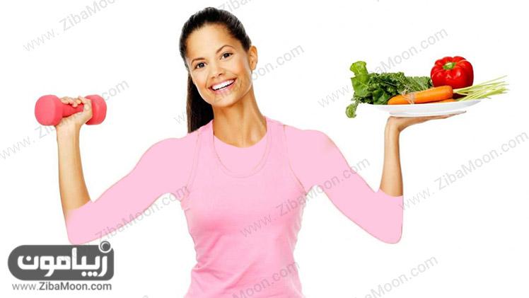 کاهش وزن با ورزش و رژیم غذایی سالم