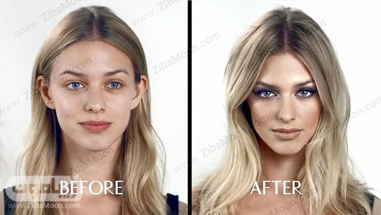 قبل و بعد از آرایش صورت معمولی و روزانه