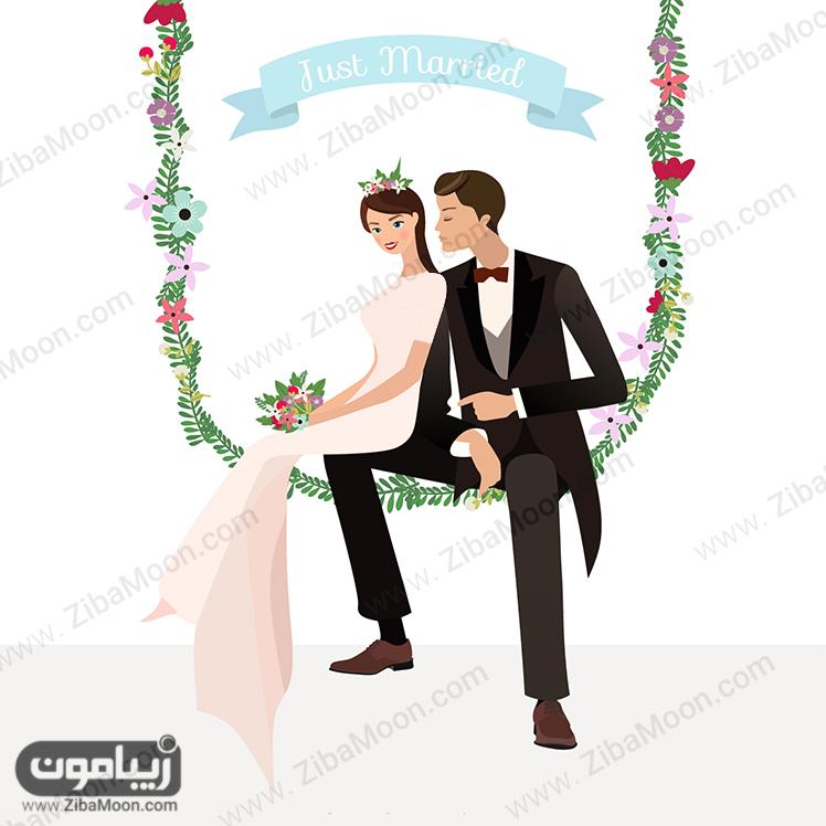 عروس و داماد نقاشی شده